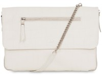 "Knomo Elektronista Clutch 10"" Leather, White Croc 120-046-WHI - eet01"