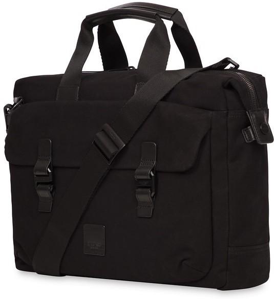 "Knomo Tournay Topload Briefcase 15"" Water Repellent Canvas Black 159-202-BKW - eet01"