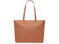 "Knomo Maddox 15"" Zip Top Tote Leather CARAMEL 20-204-CAR - eet01"