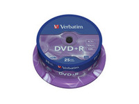 43500 Verbatim DVD+R  16X 4.7GB Branded Matt Silver,25 Pack - eet01