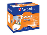43521 Verbatim DVD-R, General, 16X, 4.7GB Wide Print. ID Brand 10 Pack - eet01