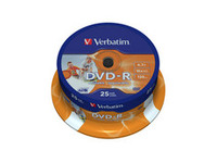 43538 Verbatim DVD-R, General, 16X, 4.7GB Wide Print. ID Brand 25 Pack - eet01