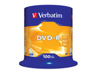 Verbatim DVD-R, General, 16X, 4.7GB Branded Matt Silver,100 Pack 43549 - eet01