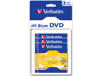 Verbatim DVD+RW 8cm 4X 1.4GB Hard Coat. Branded Matt Silver,3 Pack 43594 - eet01