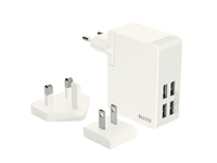 Leitz/Esselte Charger USB Wall w.4plugs 24W Leitz Complete White 62190001 - eet01