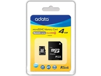 AUSDH4GCL4-RA1 ADATA 4GB MICRO SD Class 4 Retail, w/adapter - eet01