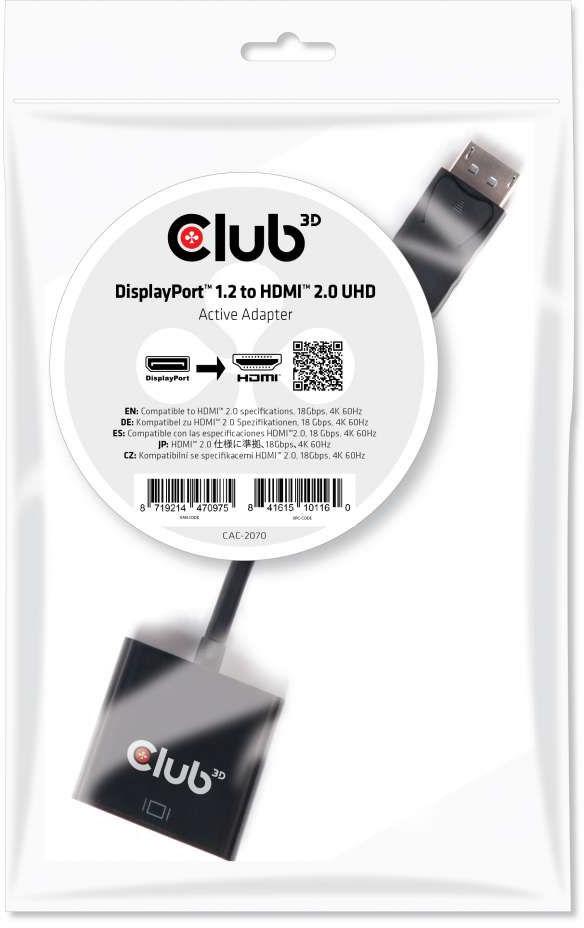 Club3D DisplayPort 1.2 to HDMI 2.0 UHD Acti CAC-2070 - eet01