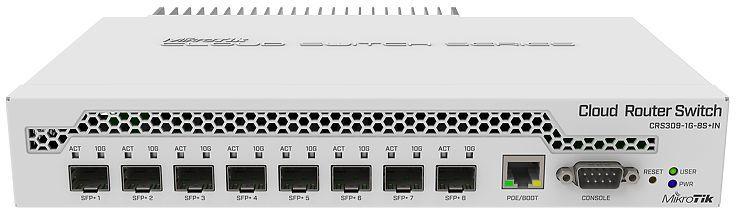 MikroTik Cloud Router Switch DC 800mhz 512MB RAM, 1xGigabit LAN CRS309-1G-8S+IN - eet01