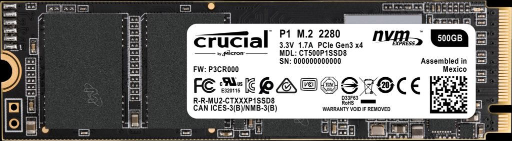 Crucial 500 GB - M.2 - 1900 MB/s **New Retail** CT500P1SSD8 - eet01