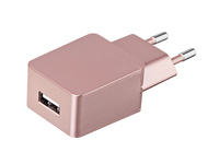 ESTUFF Home Charger 1 USB 1A, Rose EU plug. Allure Series. ES80126EU-ROSE - eet01