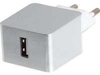 ESTUFF Home Charger 1 USB 2.4A Silver EU plug. Allure Series. ES80130EU-SILVER - eet01
