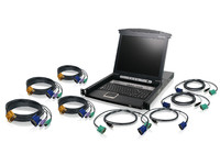 "IOGEAR 17"" LCD Combo 8 port KVM Switch w/ 4 USB & 4 PS/2 KVM GCL1808KIT - eet01"