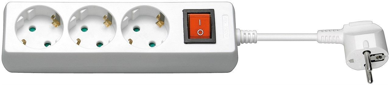 MicroConnect 3-way Schuko Socket 1,5M White With ON/OFF Switch, GRU003W-SWITCH - eet01
