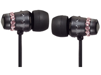 Maroo Earphones ICE Collection With Pink Crystals Black MA-EP8002 - eet01