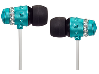 Maroo Earphones ICE Collection With Clear Crystals Turquoise MA-EP8003 - eet01