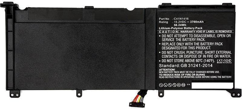 MicroBattery Laptop Battery for Asus 56.24Wh Li-Pol 15.2V 3700mAh MBXAS-BA0137 - eet01
