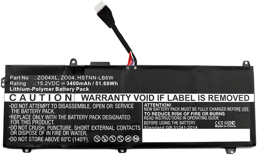 MicroBattery Laptop Battery for HP 51.68Wh Li-Pol 15.2V 3400mAh MBXHP-BA0109 - eet01