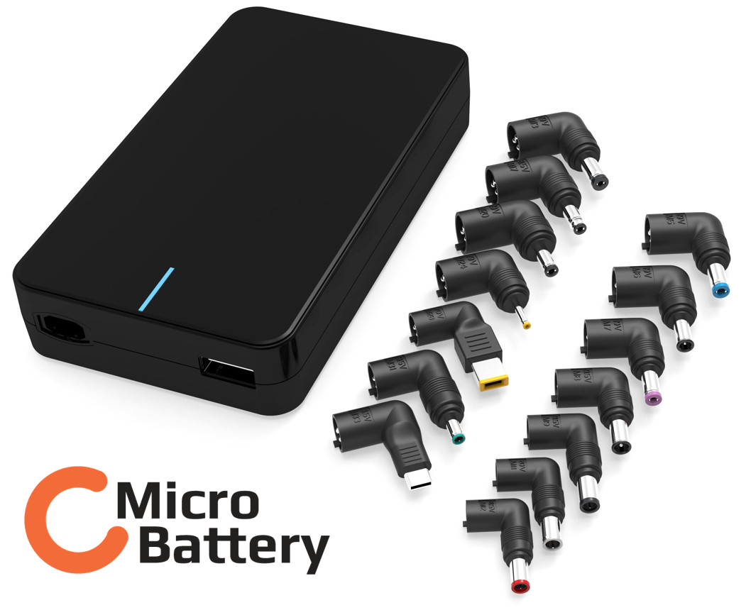 MicroBattery 90W Universal Power Adapter Build in USB charger 5V 2A, MBXUN-90W-AC0001 - eet01
