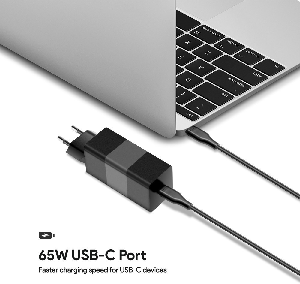 MicroBattery 65W USB-C Power Adapter 5-20V/1-3.25A PD3.0 with Cable MBXUSBC-AC0011 - eet01
