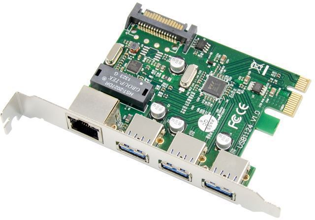 MicroConnect PCIe USB3.0+Ethernet LAN Card Main chip : VL805 + RTL8153B MC-PCIE-USB3.0ETH - eet01