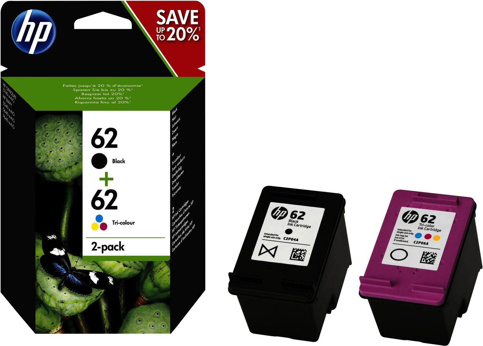 HP Ink 62 C/M/Y/K Standard capacity, 2-pack N9J71AE - eet01