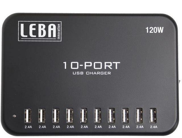 Leba NoteCharge 10 ports USB A USB A, 10 x 2,4 amp. per port NCHAR-U10-SC - eet01