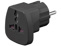 PETRAVEL-B MicroConnect Universal adapter black Work to UK, US, DK, CH, IT. - eet01