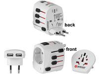 MicroConnect SKROSS World Adapter Dual USB, 2- and 3-Pole PETRAVEL12 - eet01