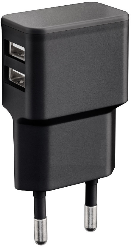 MicroConnect Charger for Smartphones 2.4Amp 2USB Port, Slim Design PETRAVEL44B - eet01