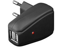 PETRAVEL8 MicroConnect Travel charger 2 x USB Dual USB (black rubber) - eet01