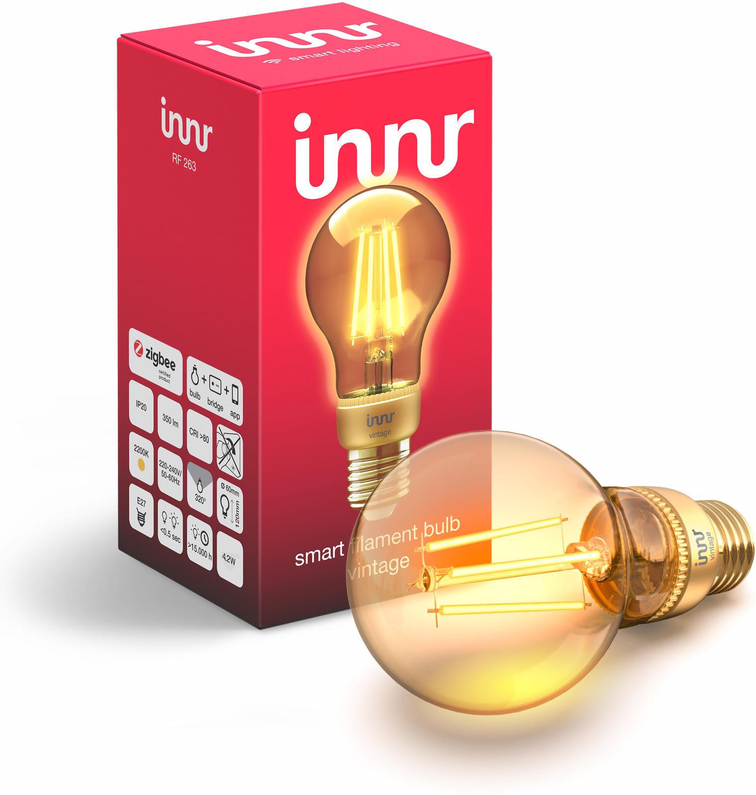 INNR Lighting 1x E27 Smart Filament Bulb Vintage, 2.200K, 350 Lm Z3.0 RF 263 - eet01