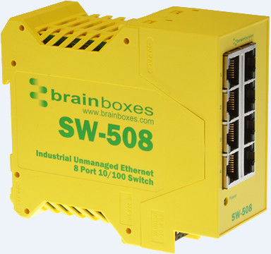 Brainboxes Ethernet Switch 8 ports Industrial Unmanaged SW-508 - eet01
