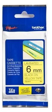 Brother Tape Black on Yellow 6mm  TZE611 - eet01