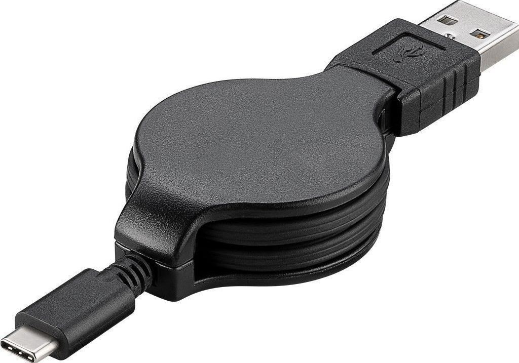 MicroConnect USB-C Retractable Charging Cable, USB Type C - USB A, 1m, USB3.1CA1RE - eet01
