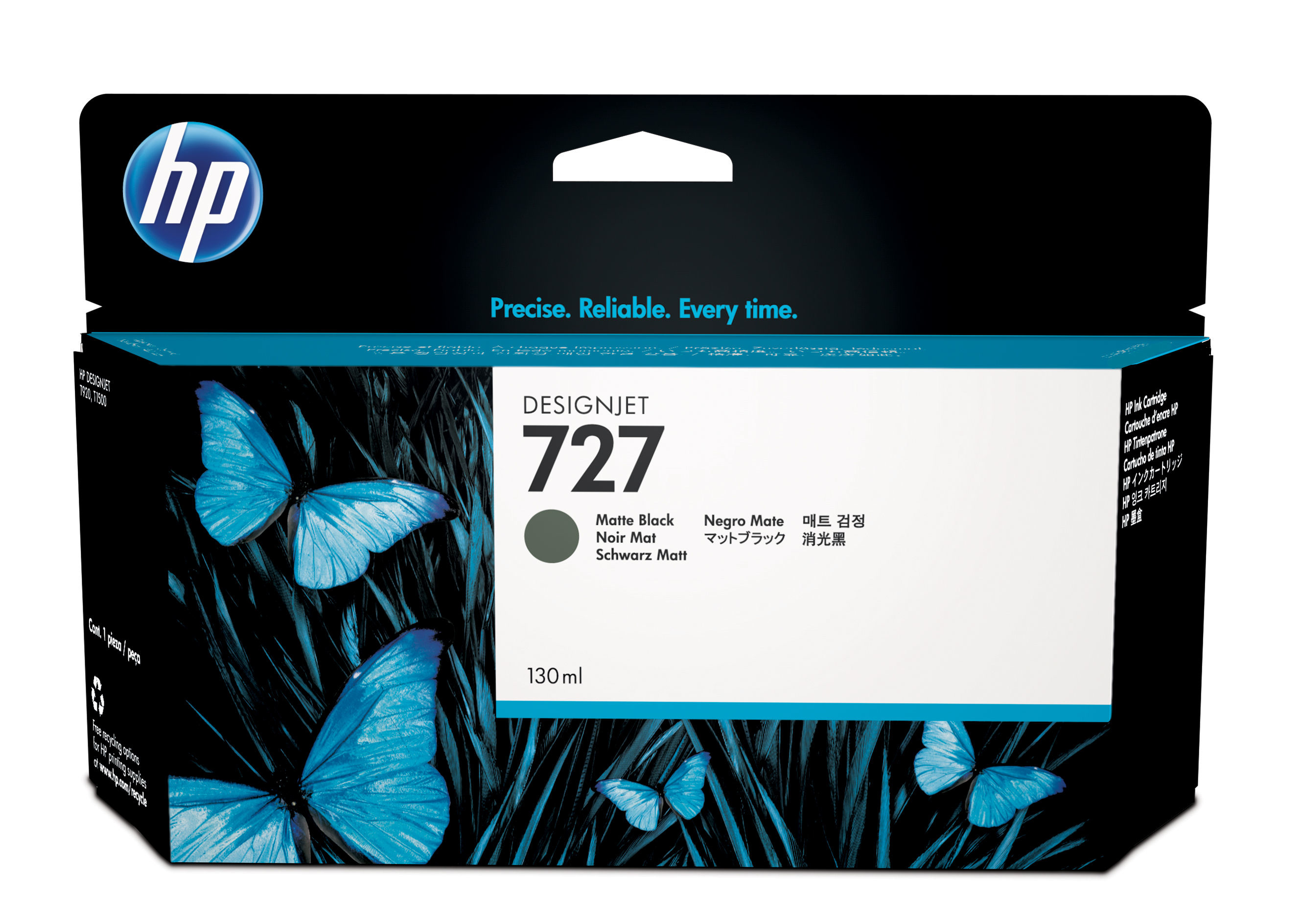 HP 727 - Matte Black - Original - Ink Cartridge - For DesignJet T1500, T2500, T920 B3P22A - C2000