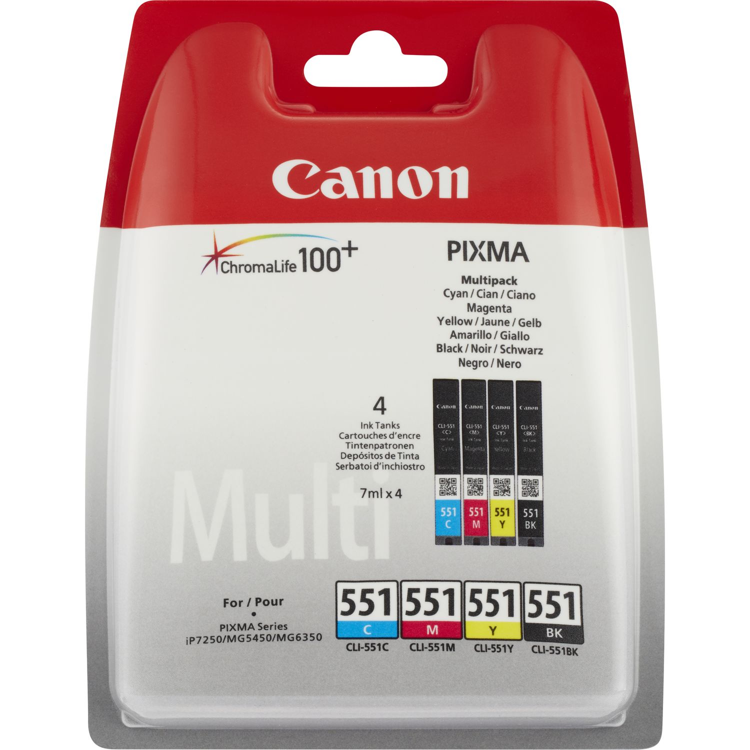 Canon CLI-551 C/M/Y/BK Multipack - 4-pack - Black, Yellow, Cyan, Magenta - Original - Ink Tank - For PIXMA IP8750, IX6850, MG5550, MG5650, MG5655, MG6450, MG6650, MG7150, MG7550, MX725, MX925 - C2000