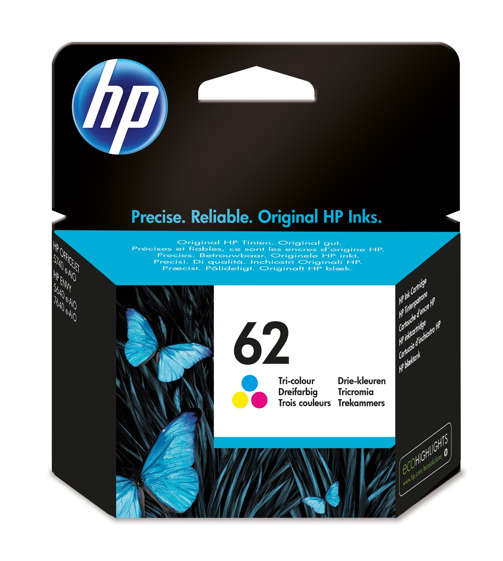Hp - Inkjet Supply (pl1n) Mvs    Ink Cartridge 62 Tri-color          Tri-color 62                        C2p06ae#uus