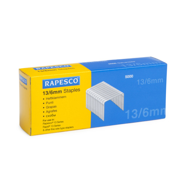 rapesco Rapesco 13/6mm Galvanised Staples Pk5000 S13060z3 - AD01