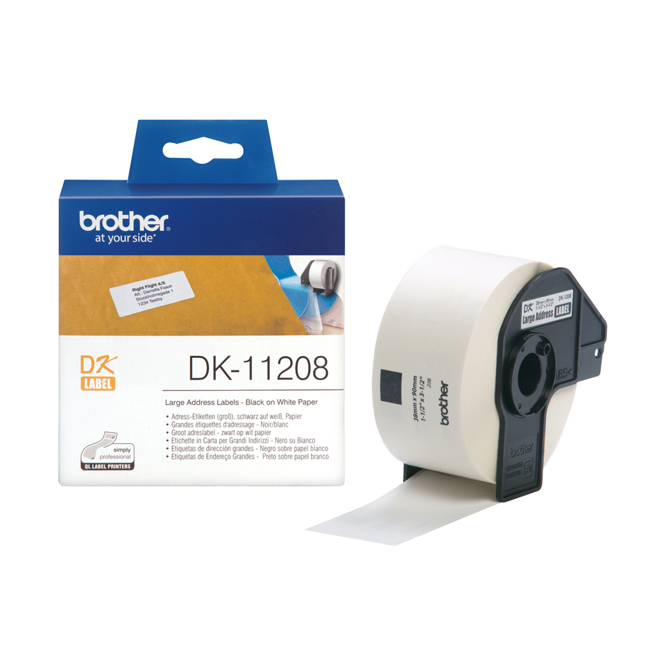 brother Brother P-touch Dk-11208 (38mm X 90mm) Large Address Labels Dk11208 - AD01