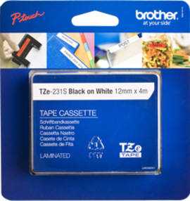 brother Brother Tze231s2 Strong 12mm Black On White Tape Tze231s2 - AD01