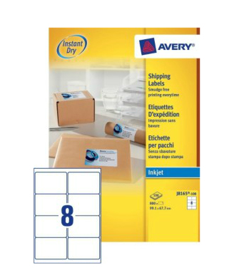 avery Avery Inkjet Addressing Labels 99x68mm J8165-100 (800labels) J8165-100 - AD01
