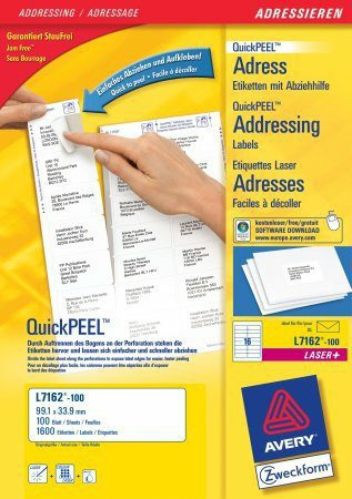 avery Avery Quickpeel Address Label 99x34mm L7162-100 (1600labels) L7162-100 - AD01