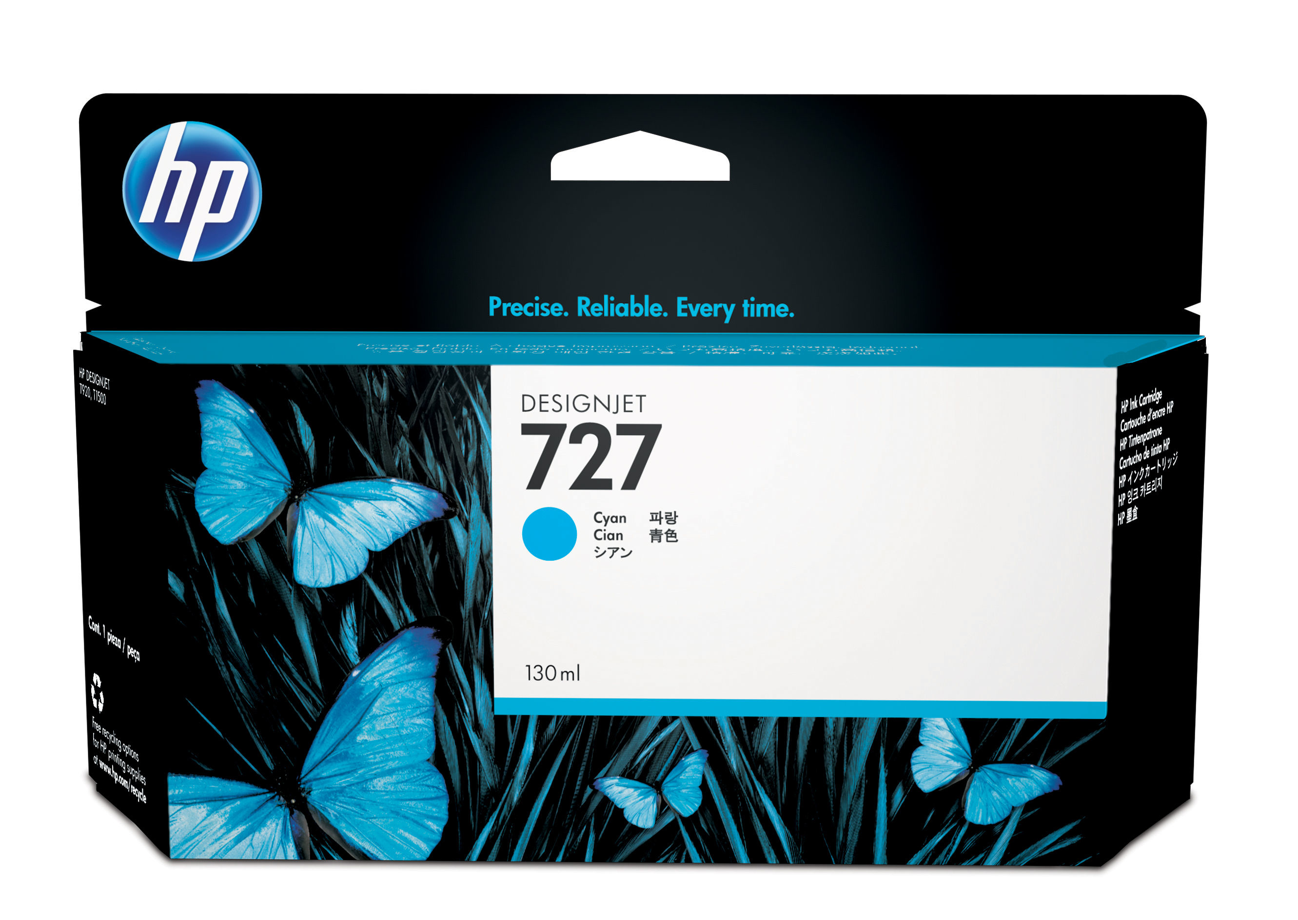 HP No. 727 Ink Cartridge Cyan - 130ml B3p19a