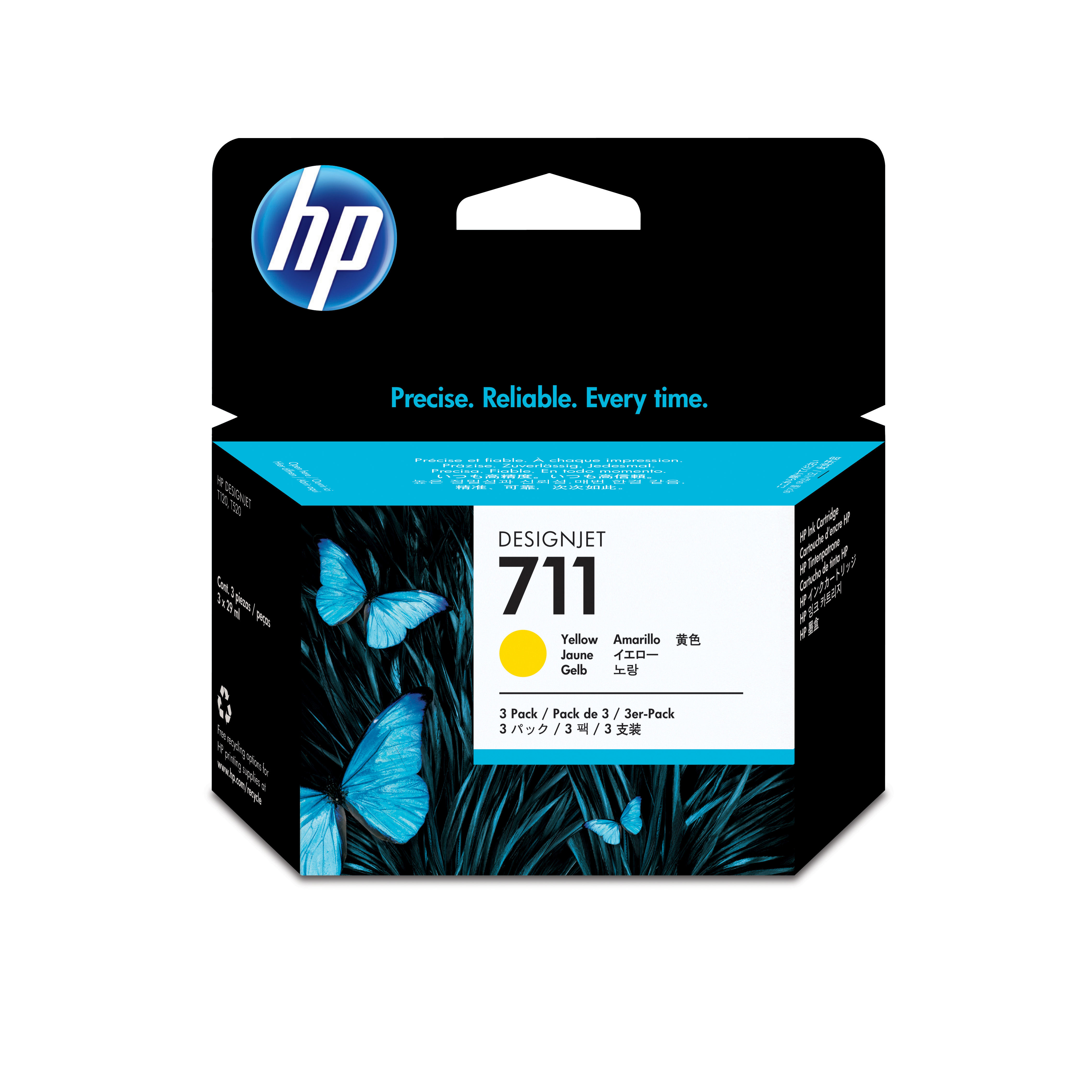Hp 711 3-pack 29-ml Yellow Ink Carts Cz136a - WC01