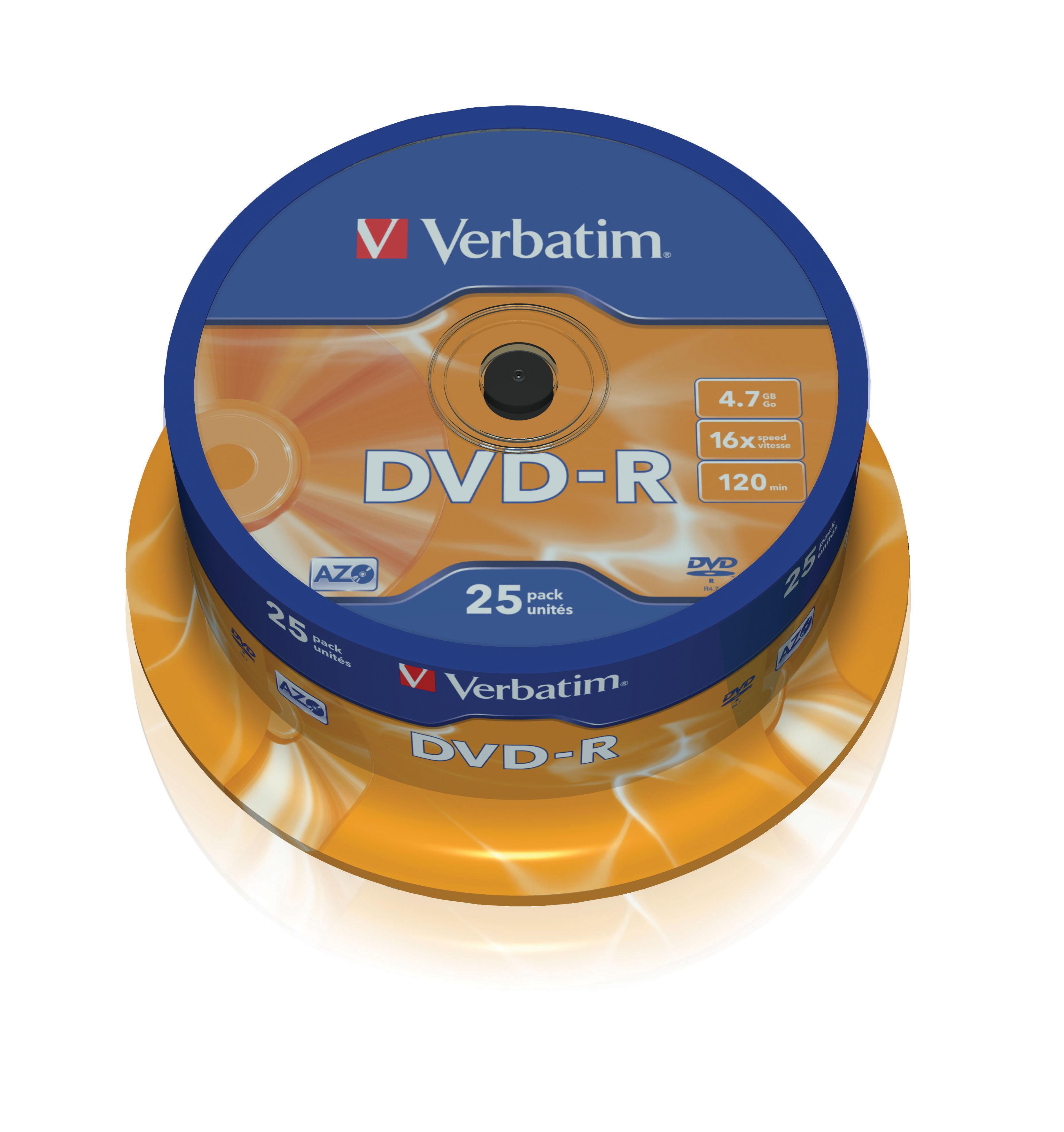 Verbatim DVD-R 16x 25pk Spindle 43522 - CMS01