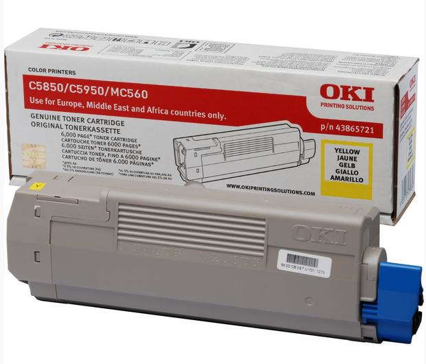 Oki C5850/5950 Yellow Toner (6k) 43865721 - WC01