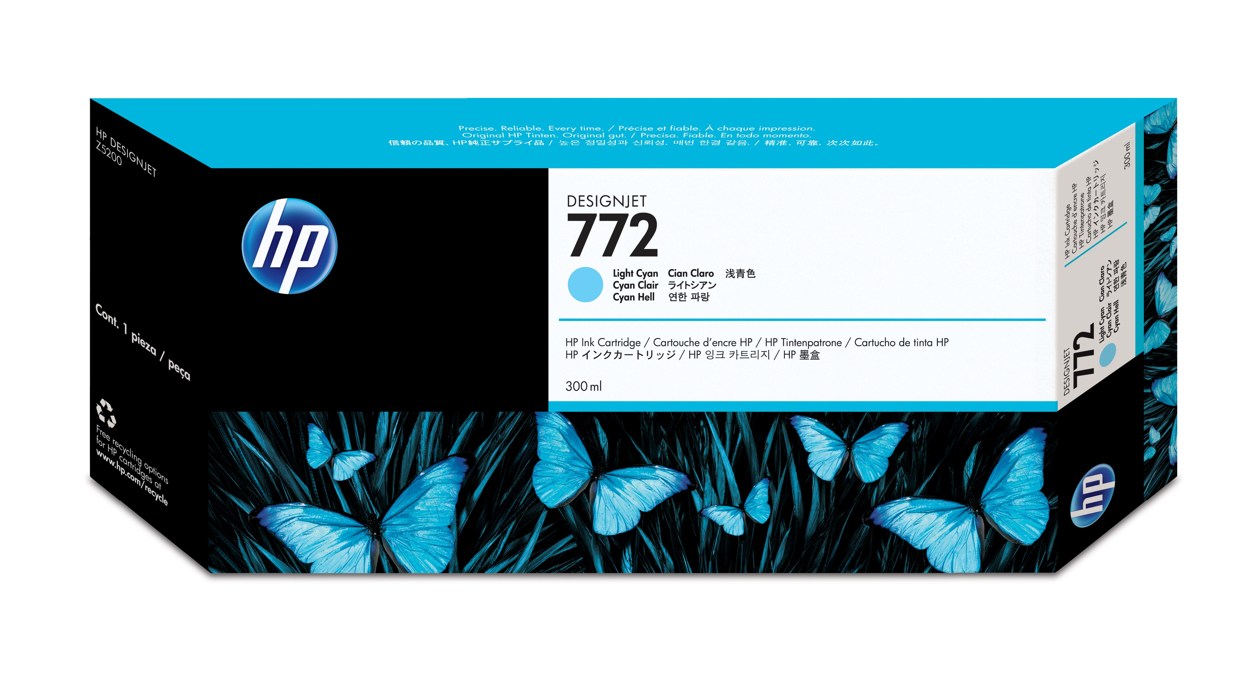 HP No. 772 Ink Cartridge Light Cyan - 300ml Cn632a