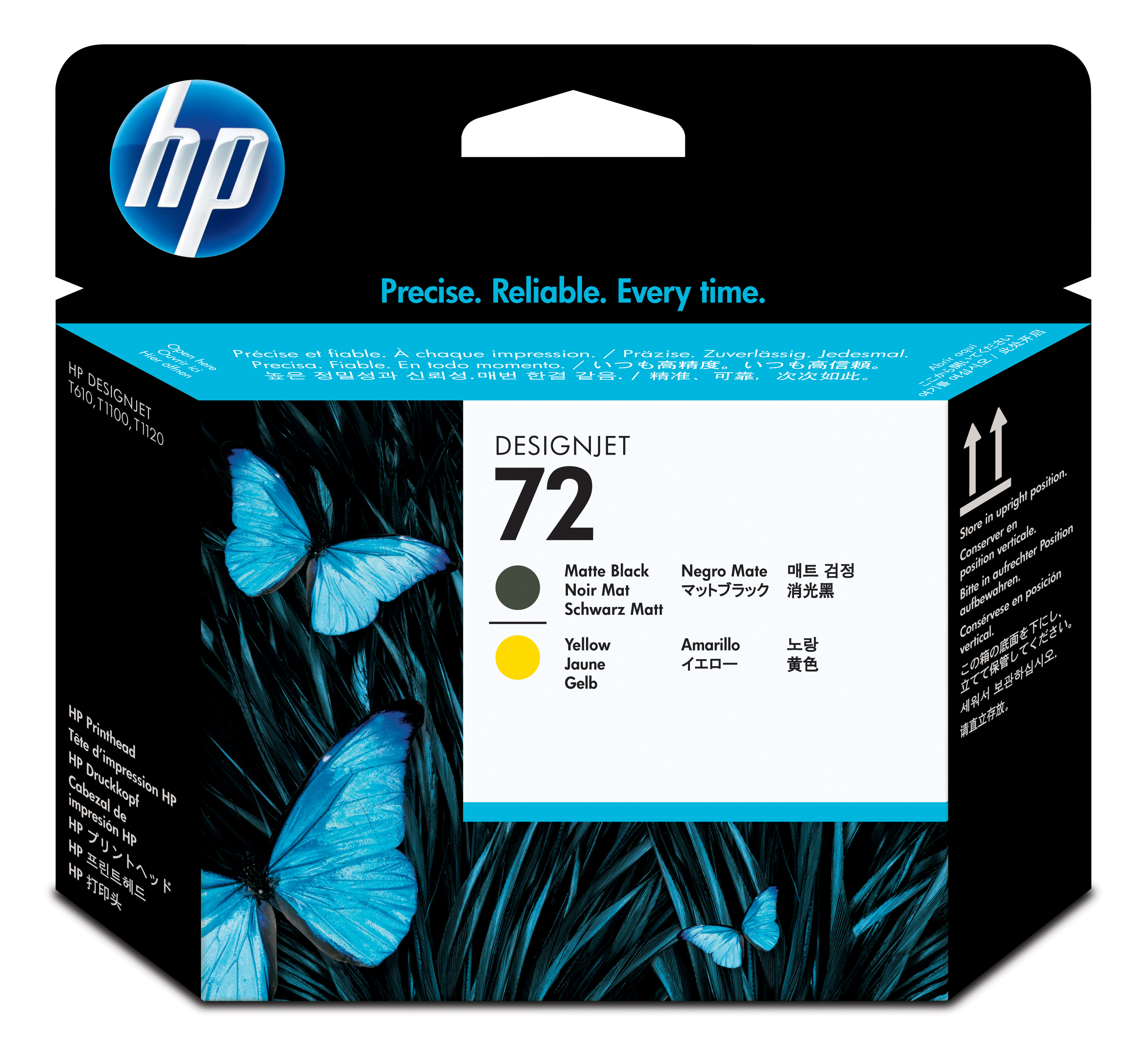 HP No. 72 Ink Printhead - Matte Black & Yellow C9384a
