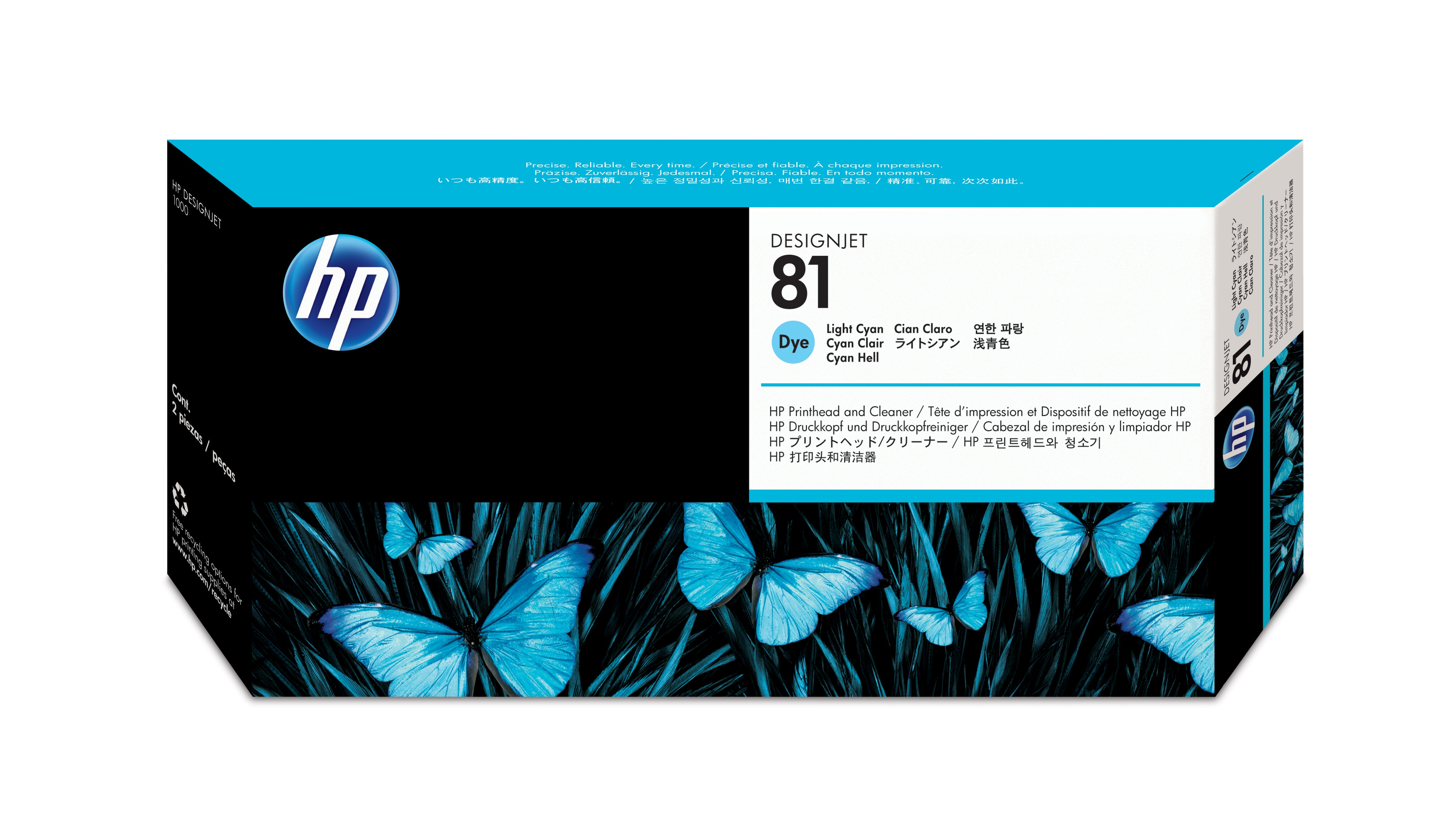 Hp No.81 Dye Light Cyan Phead + Clnr C4954a - WC01