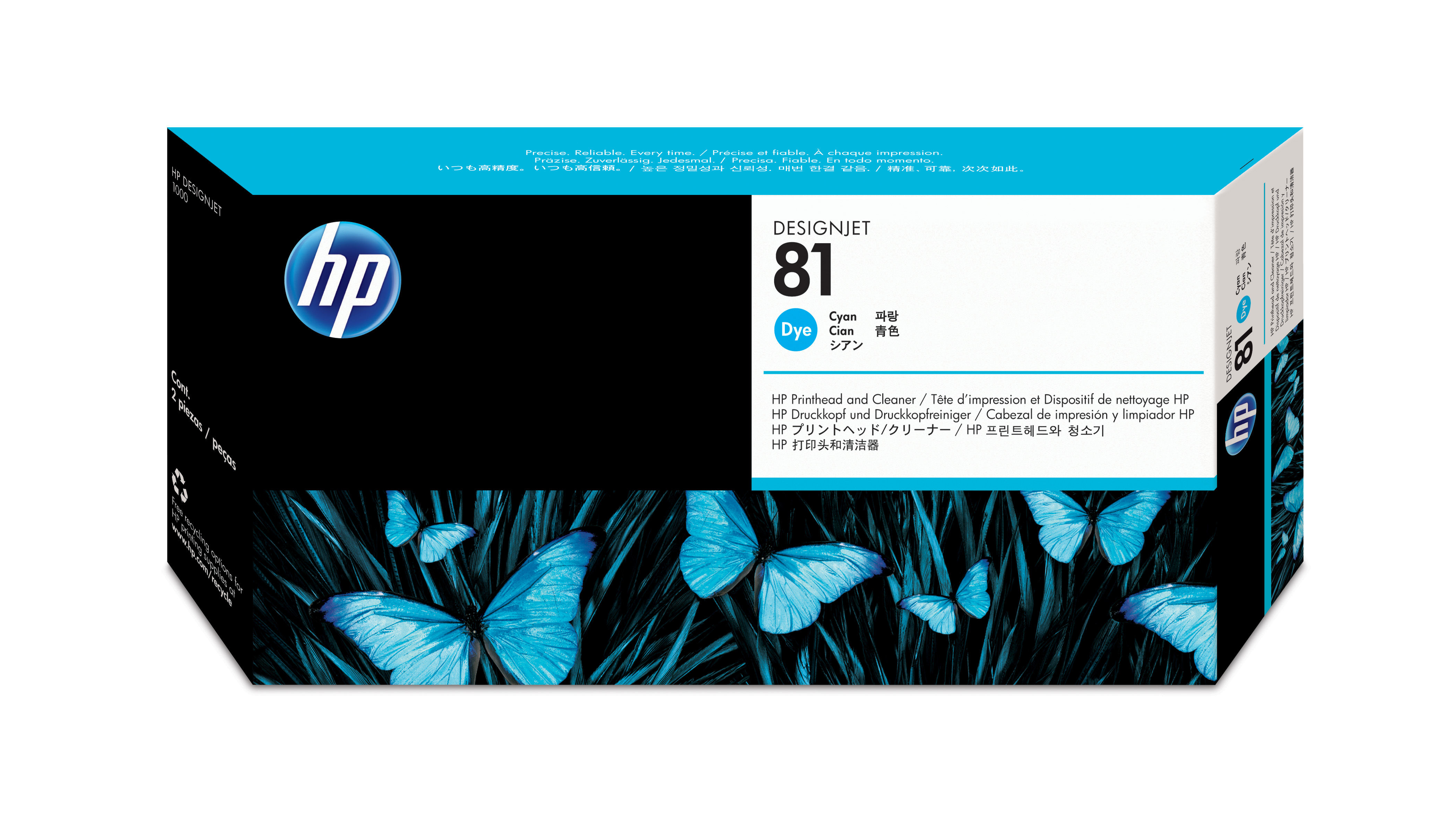 Hp No.81 Dye Cyan Printhead + Cleanr C4951a - WC01